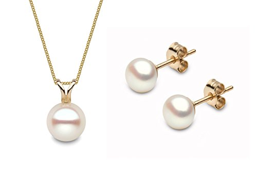 Kimura Pearls 9ct Yellow Gold Cultured Freshwater Pearl Stud Earring and Pendant Set