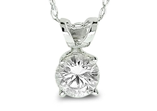 Diamond Studs Forever 14ct White Gold 1/2ct Diamond Solitaire Pendant With Chain GH/SI2-I1