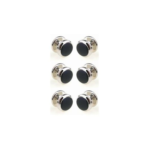Silver coloured and black stone dress shirt studs