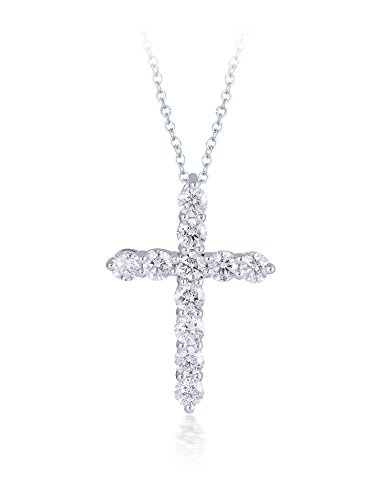 Diamond Studs Forever 14ct White Gold 1ct Total Weight Diamond Cross Pendant With Chain GH/I1 IGI USA Certified