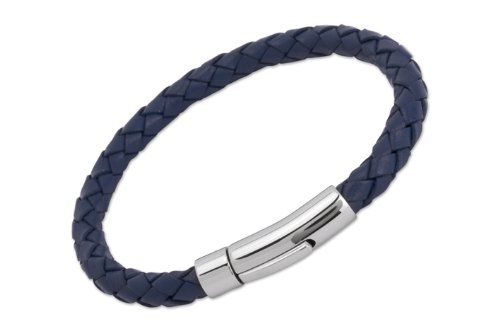 Unique & Co. Men's 21cm Blue Leather Bracelet with Stainless Steel Clasp