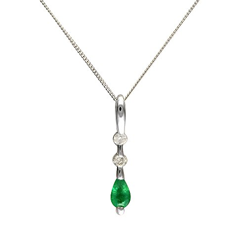 Ivy Gems 9ct White Gold Emerald and Diamond Pendant with 46cm Chain