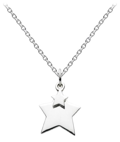 Dew Womens Sterling Silver Hanging Double Star Necklace 9823HP, 18″