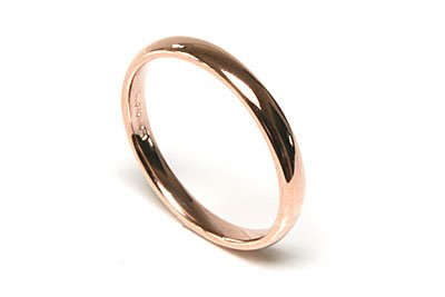 9ct Rose Gold 3mm Court Wedding Ring, Size V, Made in England, Hallmarked