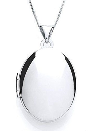 Plain Sterling Silver Oval Locket Pendant Necklace with 18″ Chain & Jewellery Gift Box. Locket measures 30mm x 18mm.