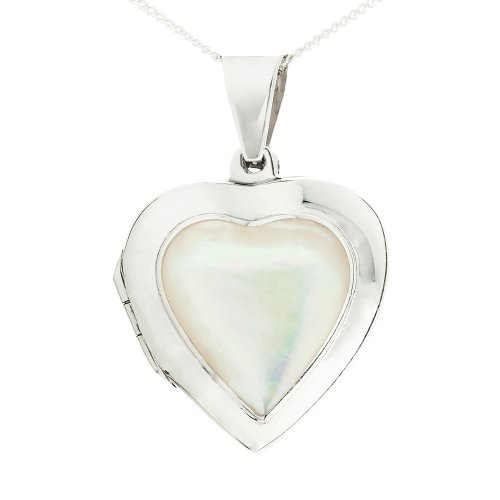 Ornami Mother of Pearl Heart Sterling Silver Locket Necklace with 46 cm Chain