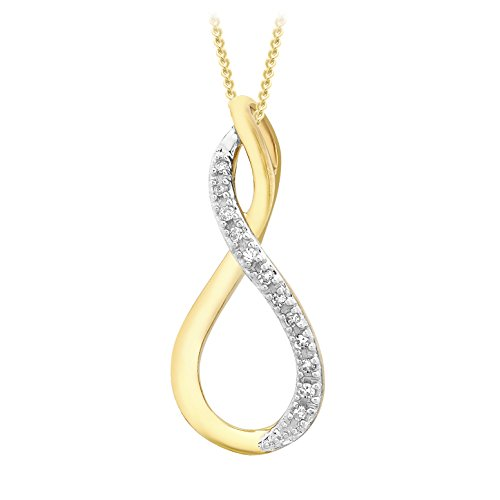 Carissima Gold 9ct Yellow Gold 0.10ct Diamond Crossover Pendant on Curb Chain Necklace of 46cm/18″