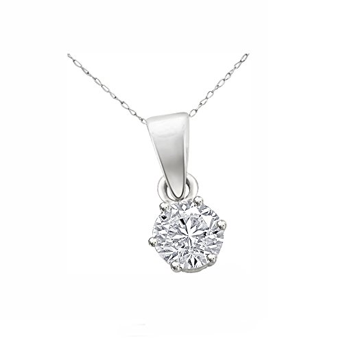 His & Her 1 Carat Diamond Necklace in the form of Circled In Silver estelina 925 (IJ Color, Pk Clarity)