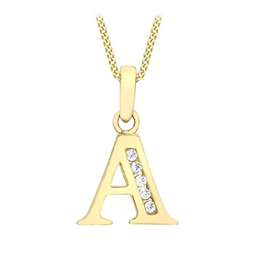 Carissima Gold Women's 9 ct White Gold Cubic Zirconia Initial Pendant on Chain Necklace of Length 46 cm