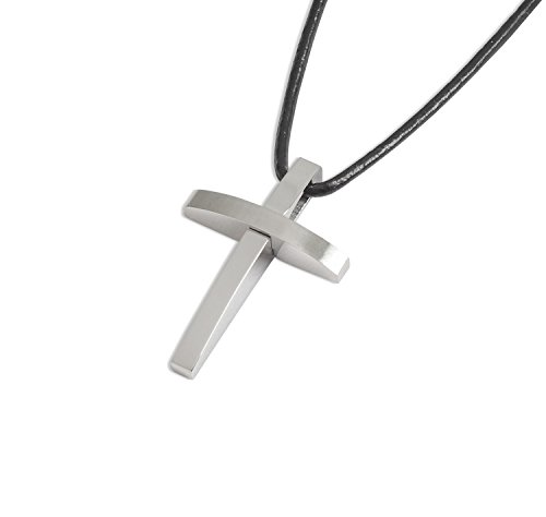 LJ Designs Confirmation Gifts 156 Stainless Steel Curved Cross Pendant Communion Gifts