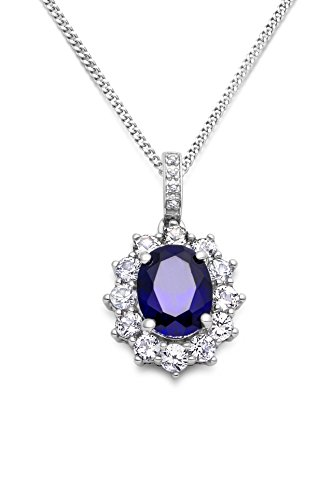 Miore 925 sterling silver necklace for women with natural diamonds and cluster setting of cubic zirconia and a sapphire…