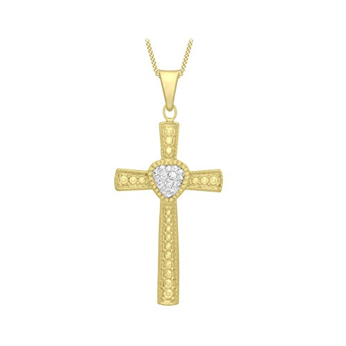 Carissima Gold 9ct Yellow Gold Cubic Zirconia Patterned Cross Pendant on Curb Chain Necklace of 46cm/18″