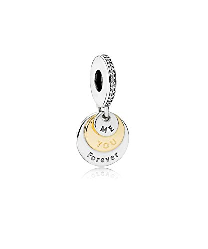 PANDORA – Charm pendant You and Me Forever Silver 925/1000 and 585/1000 Gold Pandora 791979CZ