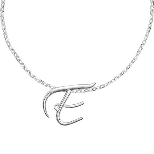 Dower & Hall Luscious Letter Sterling Silver Initial E Pendant on 18 Inch Belcher Chain