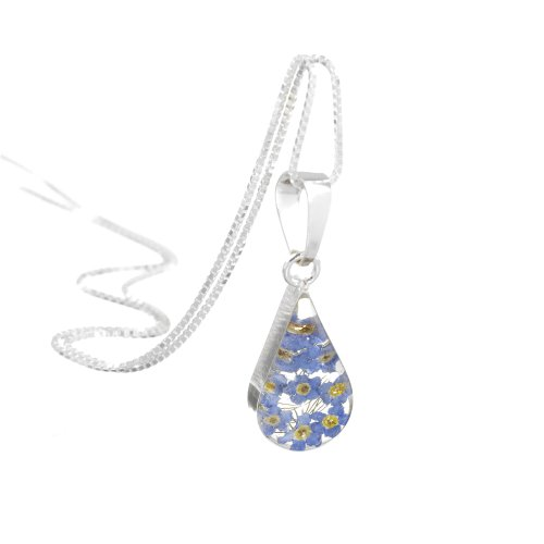 Shrieking Violet Silver Teardrop Pendant Made with Real Forget-me-nots – Includes an 18″ Silver Chain & giftbox