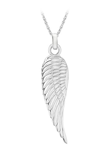 Tuscany Silver Sterling Silver Simple Angel Wing Pendant On Prince of Wales Chain of 46cm/18″