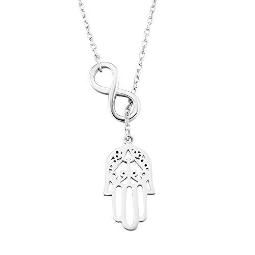 Hand of Hamsa Necklace 925 Sterling Silver Infinity Good Luck Hamsa Fatima Hand Pendant Necklace with 17.5″ Rolo Chain