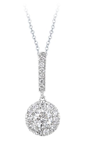 Diamond Studs Forever 14ct White Gold 1ct Total Weight Diamond Halo Stick Pendant with Chain GH/I1