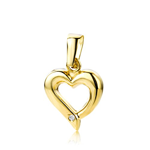 Miore Pendant Heart Yellow Gold 9 Kt / 375 Diamonds