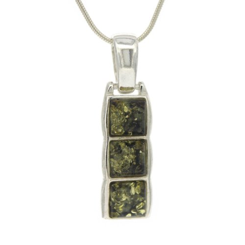 Green Amber 3 Square Pendant on 18 inch (46cm) Sterling Silver Chain in presentation box