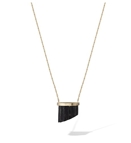 COMPLETEDWORKS 18ct Yellow Gold Half-Pillar Marble Pendant Necklace of Length 42cm