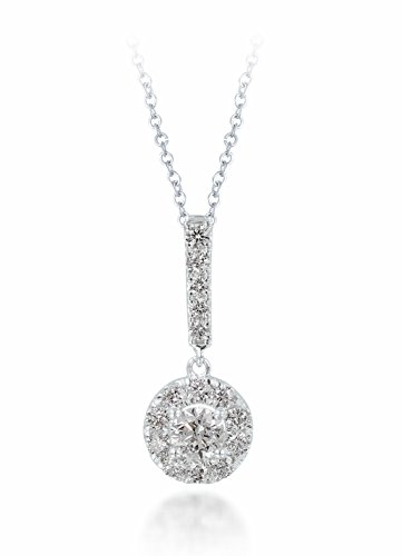 Diamond Studs Forever 14ct White Gold 3/4ct Total Weight Diamond Halo Stick Pendant with Chain GH/I1