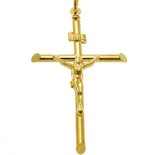 Large 9ct Gold Crucifix Cross Pendant Necklace With Jewellery Gift Box