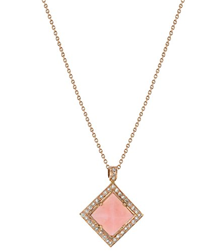 Fable By didi 14 K Rose Gold Jewellery Pink Opal Pyramid Pendant