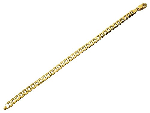 F.Hinds Mens Gents Jewellery Jewelry 9ct Gold 6mm Wide Curb Bracelet – 8.5in