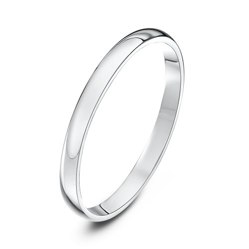 Theia Unisex Heavy D Shape Polished Platinum Wedding Ring