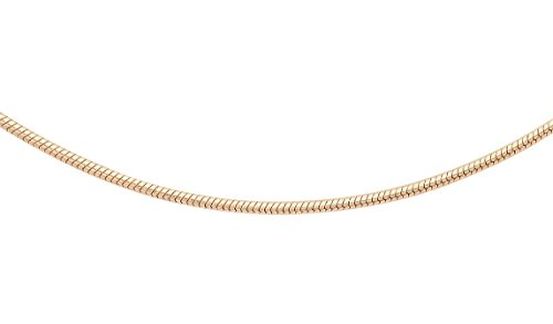 Carissima Gold Women's 10 ct Rose Gold 0.7 mm Round Snake Chain Necklace of Length 46 cm/18 Inch