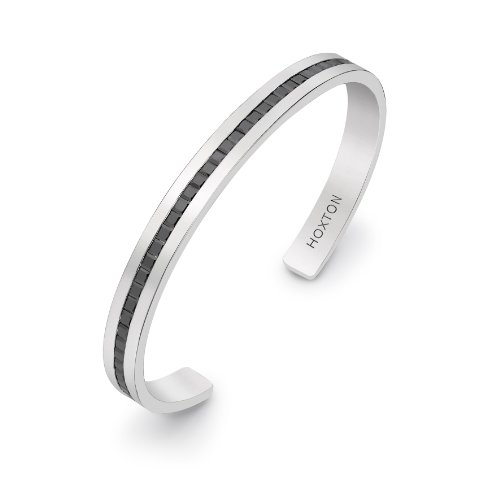 HOXTON LONDON Men's Sterling Silver Stone Black CZ Cuff Bangle