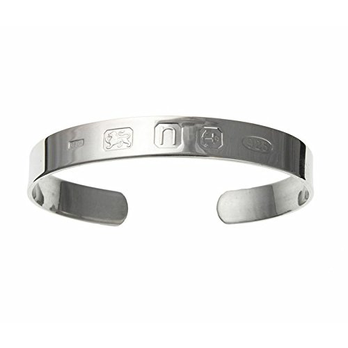 Sterling Silver Solid Heavy 28g Mens Outside Hallmarked Torque Bangle Width 10mm