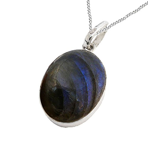 925 Sterling Silver Labradorite Oval Cabochon Pendant with a Sterling Silver Chain – Magical Delight