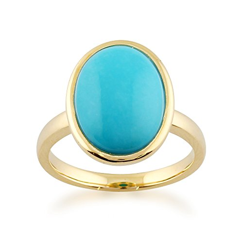 Gemondo Turquoise Ring, 9ct Yellow Gold 3.00ct Oval Turquoise Framed Ring
