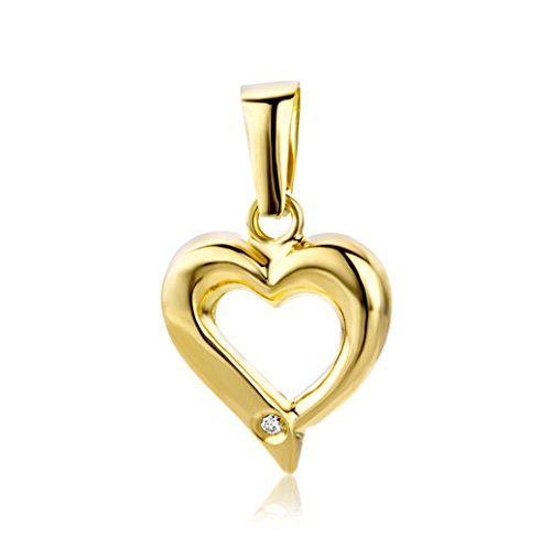 Miore heart with diamond pendant in 18 karat 750/1000 white gold/yellow gold / 2 colour gold- size 18 x 11 mm