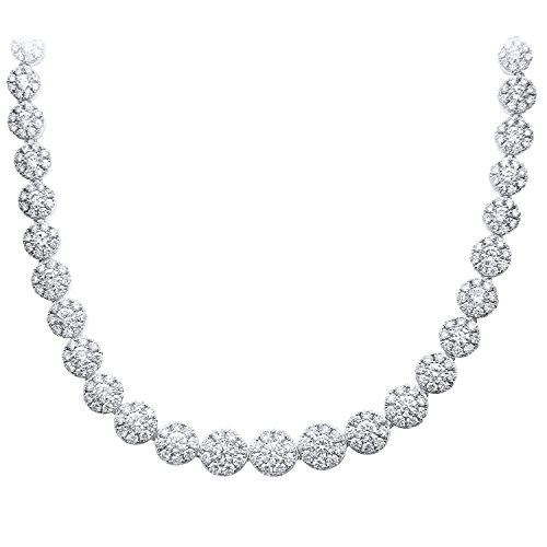 Naava Women's 18 ct White Gold Spectacular Halo Set 7.50 ct Diamonds Certified G/SI1 Single Strand Necklace of 46 cm