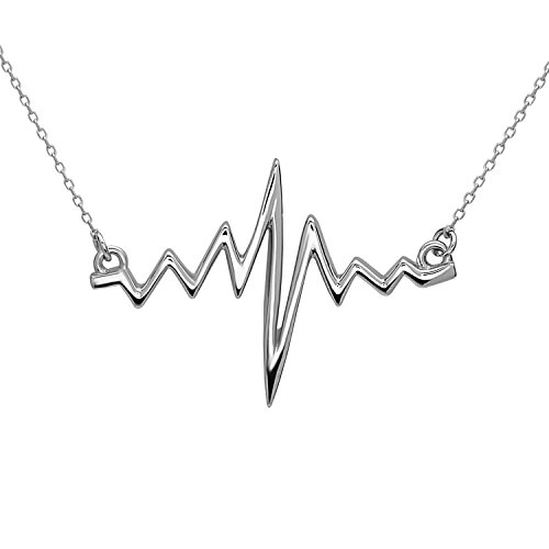 ECG Heart Beat Pendant with Necklace | all in real 925 sterling silver | Colours: Silver 14k-Gold 18k-Rose Gold | by…