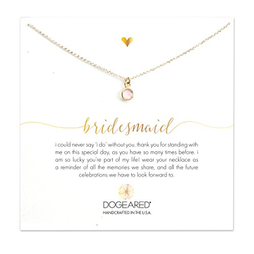 Dogeared 14 ct Gold Filled Bridesmaid Rose Quartz Bezel Necklace of 40.64 cm with 5 cm Extender