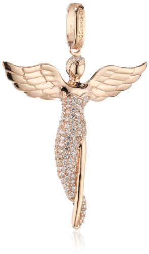 Engelsrufer Women's 925 Sterling Silver Rose Gold Plated Studded with 92 White Zirconia Angel Pendant, Size 52 mm