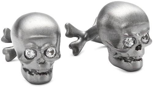 "ROTENIER ""Novelty Sterling Silver Black Skull with Sapphire Cufflinks"