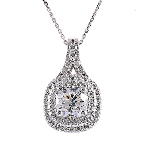 Diamond Studs Forever 14ct White Gold 1ct Total Weight Diamond Double Halo Pendant with Chain GH/I1 IGI USA Certified