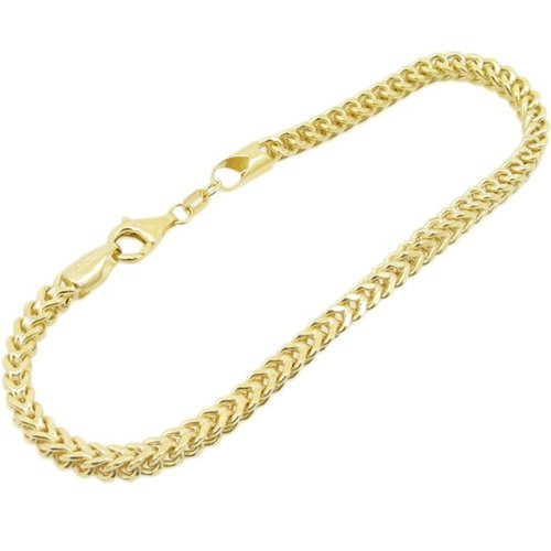 Mens 10k Yellow Gold fancy gold figaro cuban mariner link bracelet AGMBRP42 7.5 inches tall and 4mm wide
