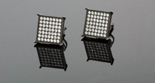 IcedTime .925 Silver Black Square Black Onyx Crystal Micro Pave Unisex Mens Stud Earrings 12mm