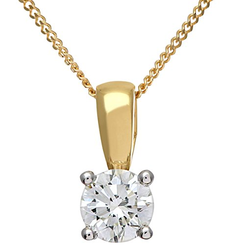 Naava Women's Round Brilliant 0.50ct I/I1 Certified Diamonds 9ct Solitaire Pendant with Chain Necklace of 46cm