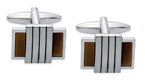 Code Red Men's Base Metal Rhodium Plated with Real Tiger's Eye Stones Cufflinks