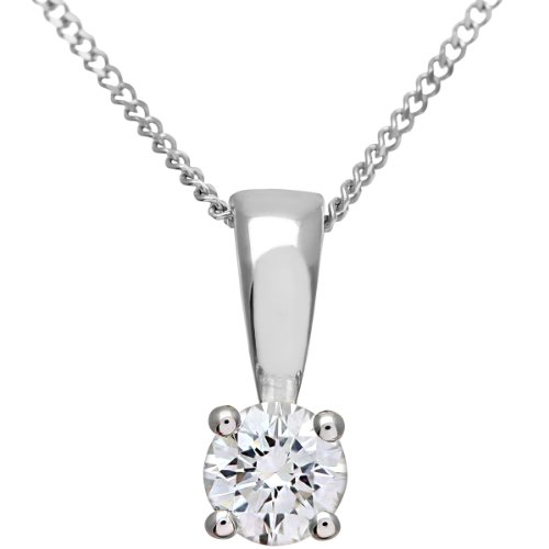 Naava Women's 18 ct Yellow Gold H/SI Certified Round Brilliant 0.50 ct Diamond Solitaire Pendant on Chain