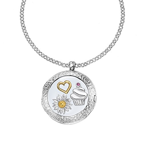 DOWER & HALL Cherish Sterling Silver 24mm Composable Locket on 46cm Belcher Chain with Friendship Treasures