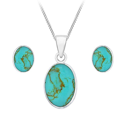 Tuscany Silver Sterling Silver Oval Turquoise Set of Earrings and Pendant on Curb Chain of 46cm/18″