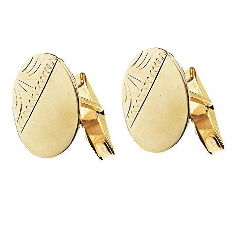 Men's 9ct Yellow Gold Oval Diamond Cut Hallmarked CuffLinks – For your Special Man